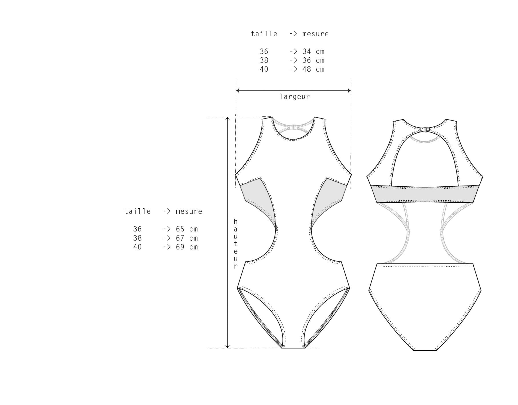 dessin technique trikini maillot